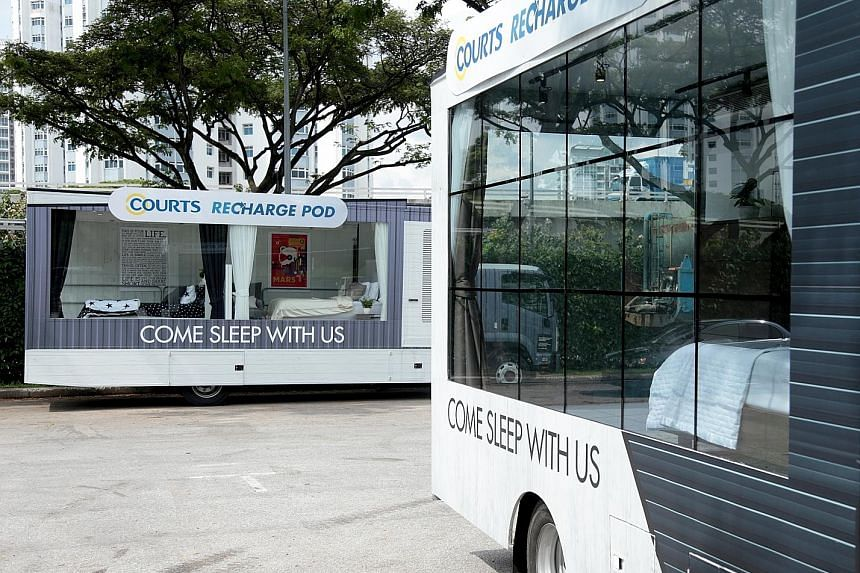 Two Recharge Pod trucks from Courts were at Fort Road carpark yesterday as part of the Come Sleep With Us campaign. Organised in partnership with Singapore Press Holdings, the campaign aims to raise awareness of getting a good night's sleep and the f