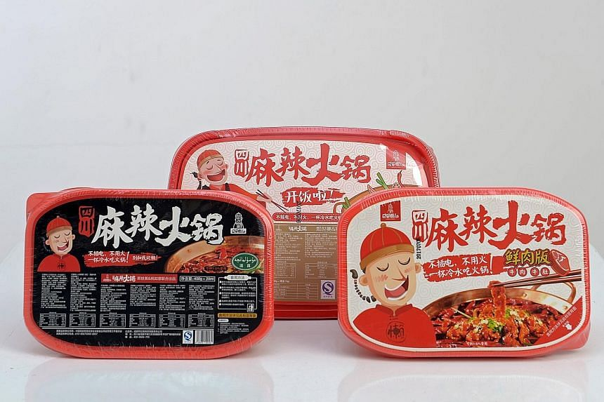 Ba Shu Lan Ren offers three flavours of instant mala hotpot: (above, from left) original, rice and meat, and beef. Left: What a pack of the rice and meat hotpot looks like.