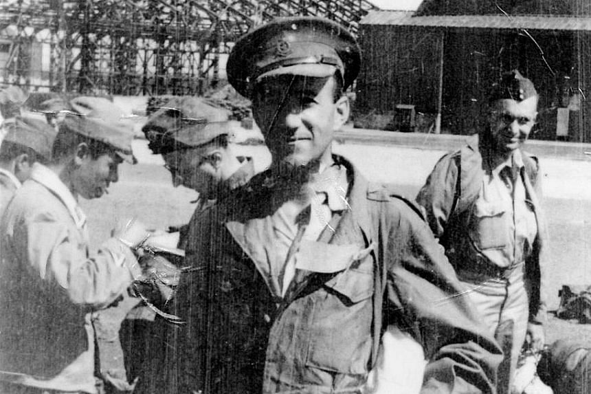 Major Francis J. Murray (right, at Kamikoge Aerodrome Chitose in 1945) wrote to his fiancee Eileen O'Kane every day he was in prison. They married in February 1946 (far right).