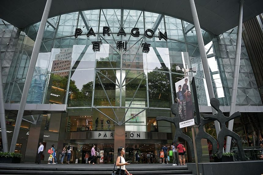 Tenant sales at Paragon, one of SPH Reit's two properties, rose 2.1 per cent year on year to $675 million even as visitor traffic held steady at 18.3 million.