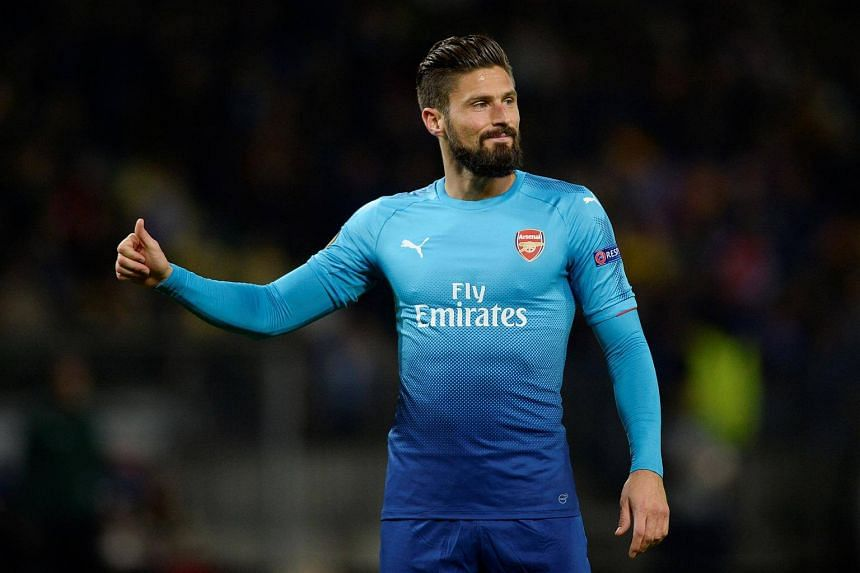 Arsenal's Olivier Giroud during the Europa League on Sept 28, 2017.