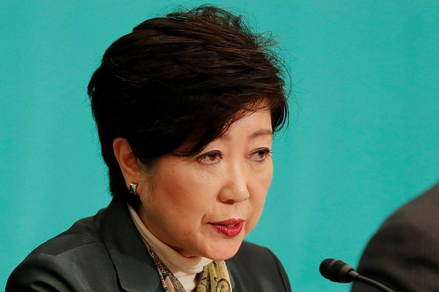 Head of Japan's Party of Hope and Tokyo Governor Yuriko Koike speaks at a debate session at the Japan National Press Club in Tokyo, on Oct 8, 2017.