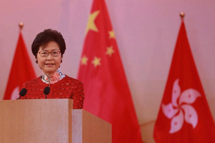 Hong Kong Chief Executive Carrie Lam speaking at a National Day reception in Hong Kong.