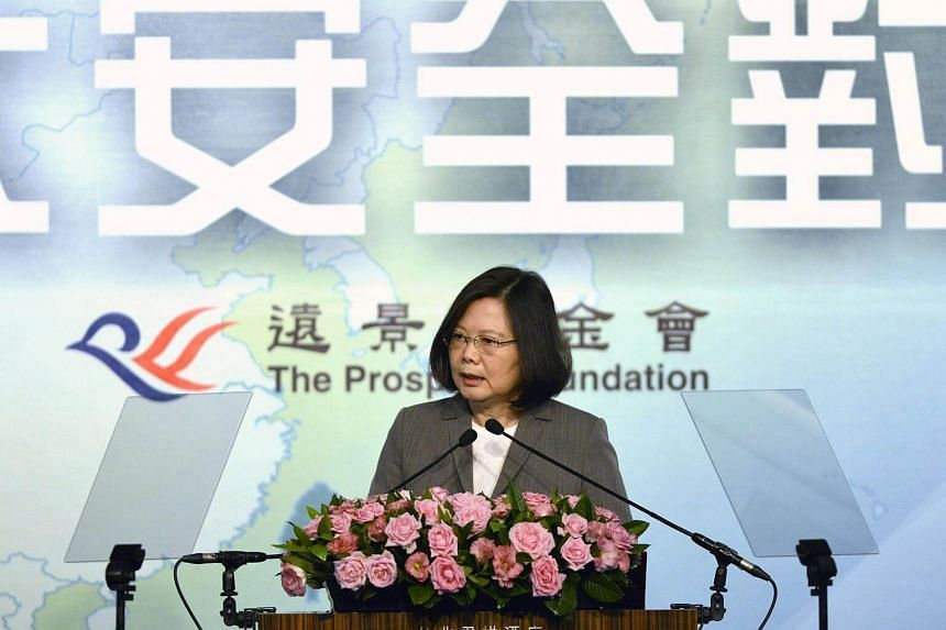 A file photo of Taiwan's President Tsai Ing-wen speaking at the Asia-Pacific Security Dialogue, on Aug 8, 2017.