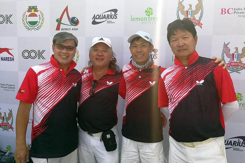 (From left) Bernard Foo, Pang Heng Heck, Melvin Tan and Anthony Loh won a gold in the men's Fours event at the Asian Lawn Bowls Championships.