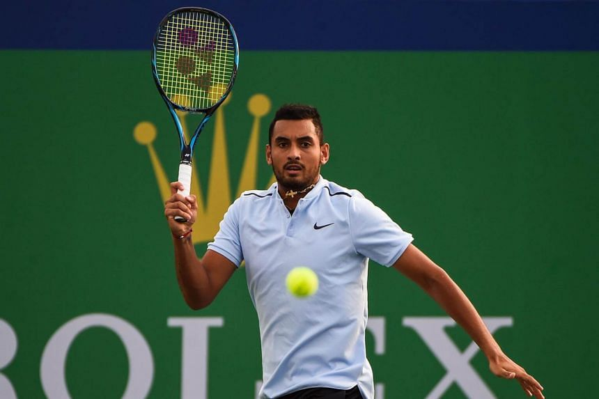 Nick Kyrgios stormed off the court after losing the first set 5-7 to Steve Johnson.