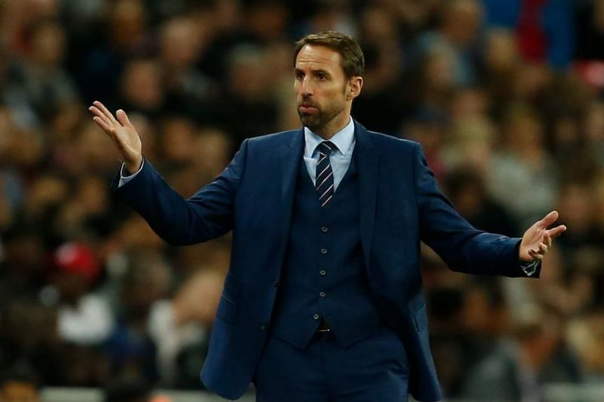 England's manager Gareth Southgate gestures to the fourth official from the touchline during the Fifa World Cup 2018 qualification football match between England and Slovenia at Wembley Stadium in London on Oct 5, 2017.