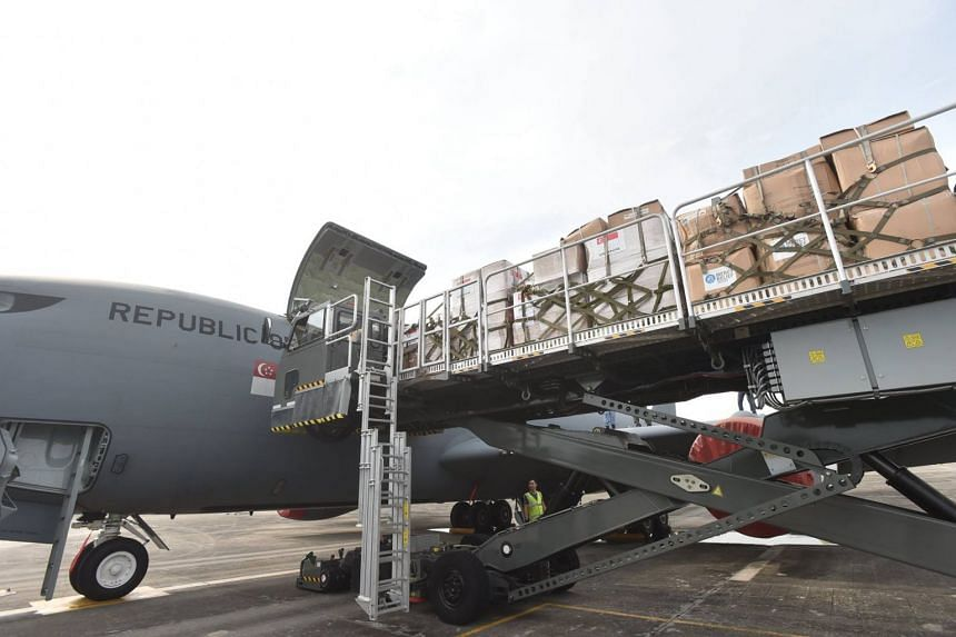 A Republic of Singapore Air Force KC-135R aircraft prepares to airlift humanitarian supplies worth approximately S$270,000 to Bangladesh on Oct 10, 2017.