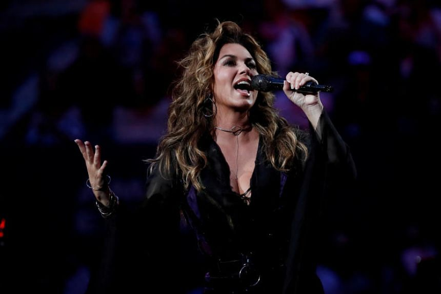 Shania Twain performs inside Arthur Ashe Stadium during opening ceremony at the US Open in New York.