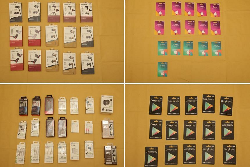 Tanglin Police Division seized earphones, speakers and gift cards from the suspect.