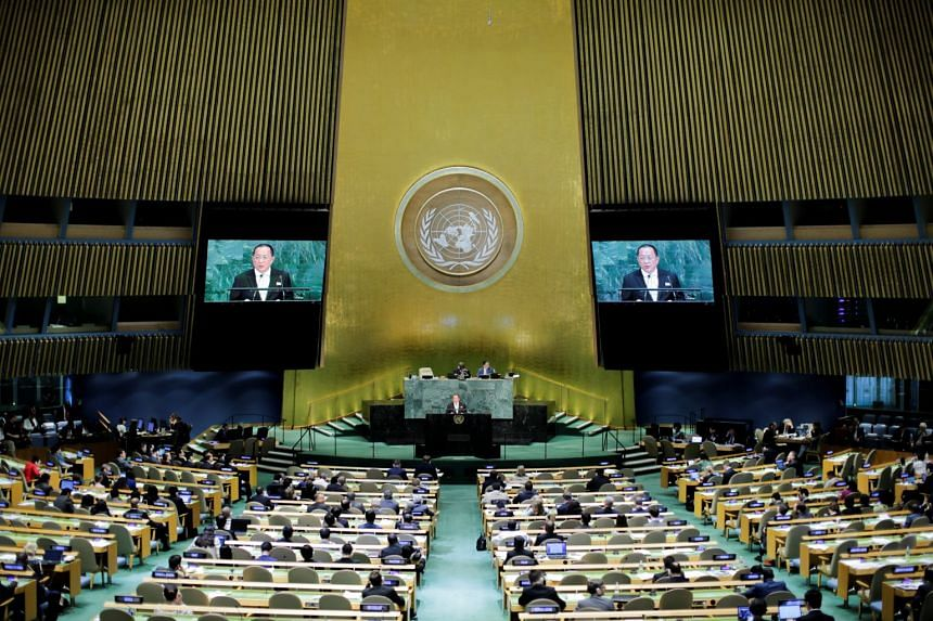North Korean Foreign Minister Ri Yong Ho addresses the 72nd United Nations General Assembly at UN headquarters, on Sept 23, 2017. UN has slapped a global port ban on four vessels found violating sanctions against North Korea.