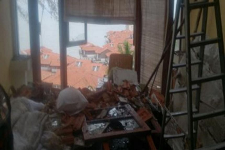The two guests of Avillion Hotel were awoken when the ceiling of their room suddenly collapsed around them after the hotel roof gave way.