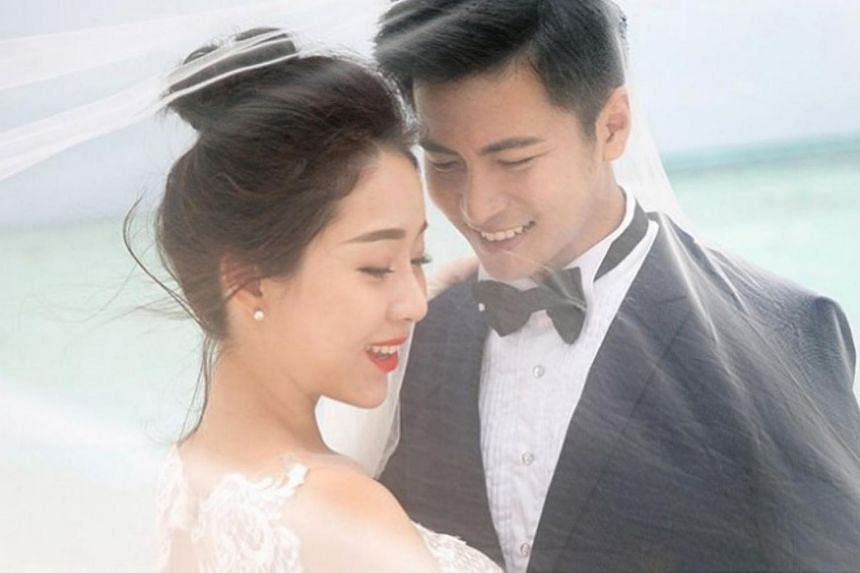 Fans get to glimpse Mediacorp actor Xu Bin's bride in a picture posted on Xu's artiste management agency NoonTalk Media's Instagram page on Monday night. In the photo, the couple are seen decked out in full wedding gear on a beach in the Maldives.