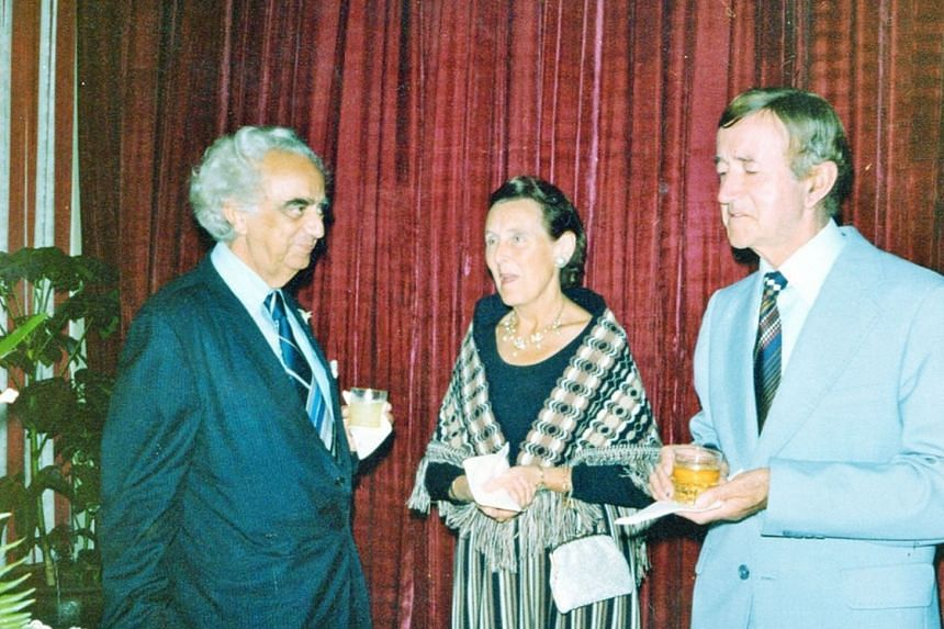 Mr Marshall and the Murrays at an ex-servicemen's reception at Raffles Hotel, Singapore, in 1977.