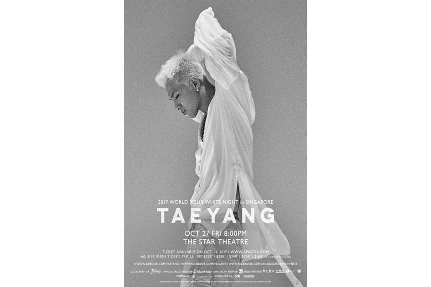 The Singapore leg of Taeyang's White Night world tour will be held at The Star Theatre, with ticket priced at $168 to $328.