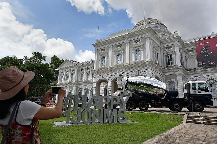 The installation La Betonniere Boule A Facettes on the front lawn of National Museum Singapore.