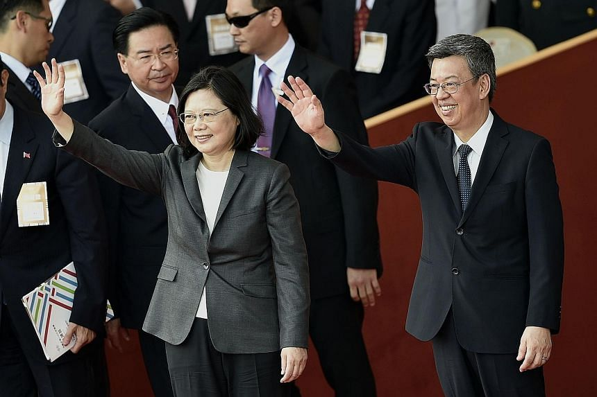 President Tsai Ing-wen and Vice-President Chen Chien-jen at the National Day ceremony in Taipei yesterday.