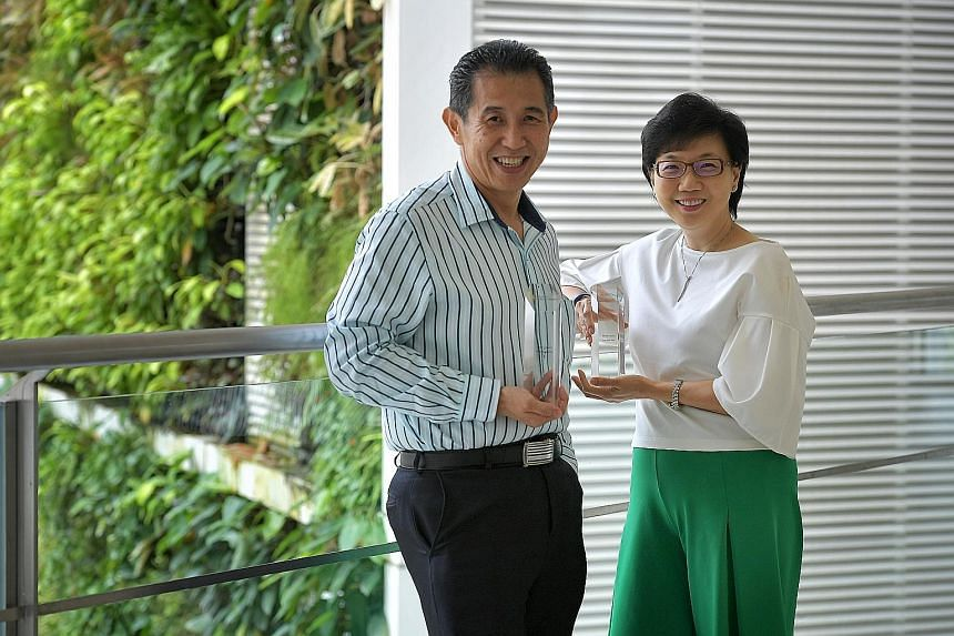 Mr Edmund Yu, senior project manager at Seagate Singapore, leads exercise sessions at his workplace, while Ms Lim Yee Juan, group chief financial officer of National Healthcare Group, started a programme called Fit and Fun to help her staff track wha