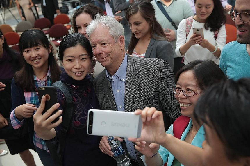 "Professor Richard Thaler was the subject of many a ""wefie"" at a University of Chicago reception after learning he had been awarded the 2017 Nobel prize in economics on Monday. Prof Thaler is one of the founders of the ""nudge theory"" which stems from"