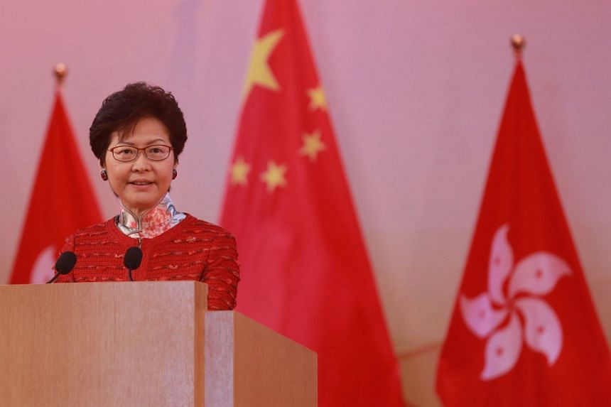 Hong Kong Chief Executive Carrie Lam speaking at a National Day reception in Hong Kong. Lam is set to map out the vision and mission of her administration for the coming five years.