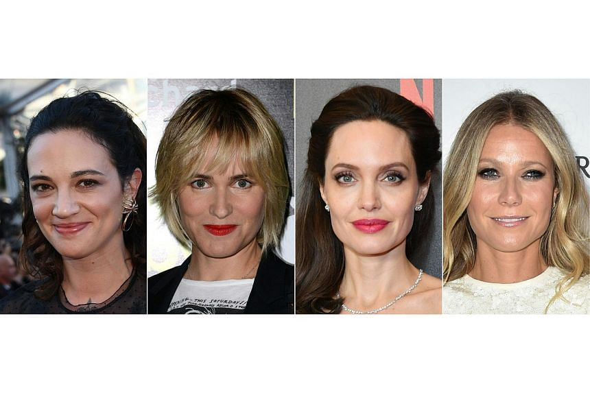 This combination of pictures created on Oct 10, 2017 shows recent images of (from left) Italian actress Asia Argento, French actress Judith Godreche and US actresses Angelina Jolie and Gwyneth Paltrow.