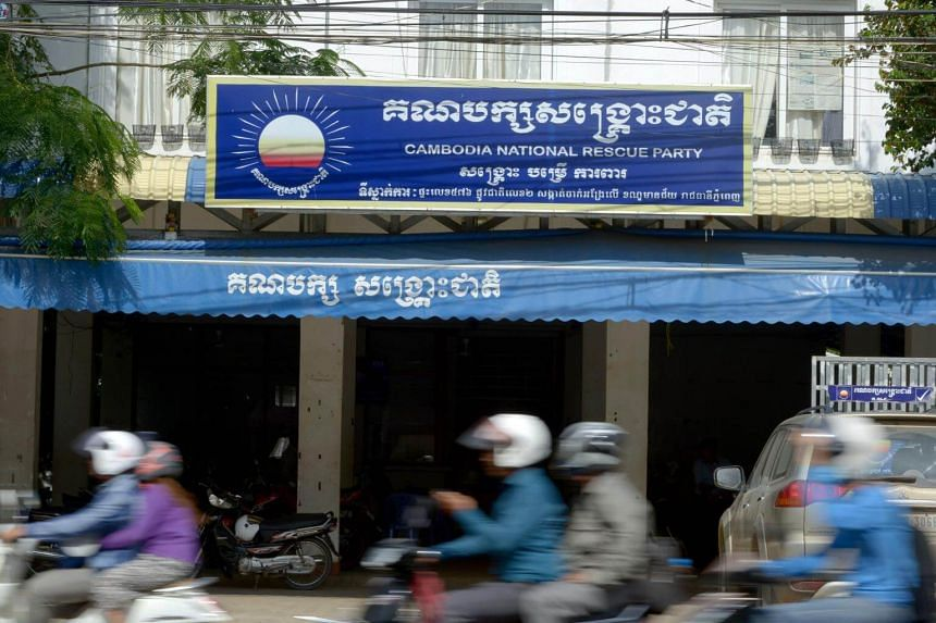 The headquarters of the Cambodia National Rescue Party in Phnom Penh. The party's deputy leader Mu Sochua had fled after being warned that she was to be arrested for treason.