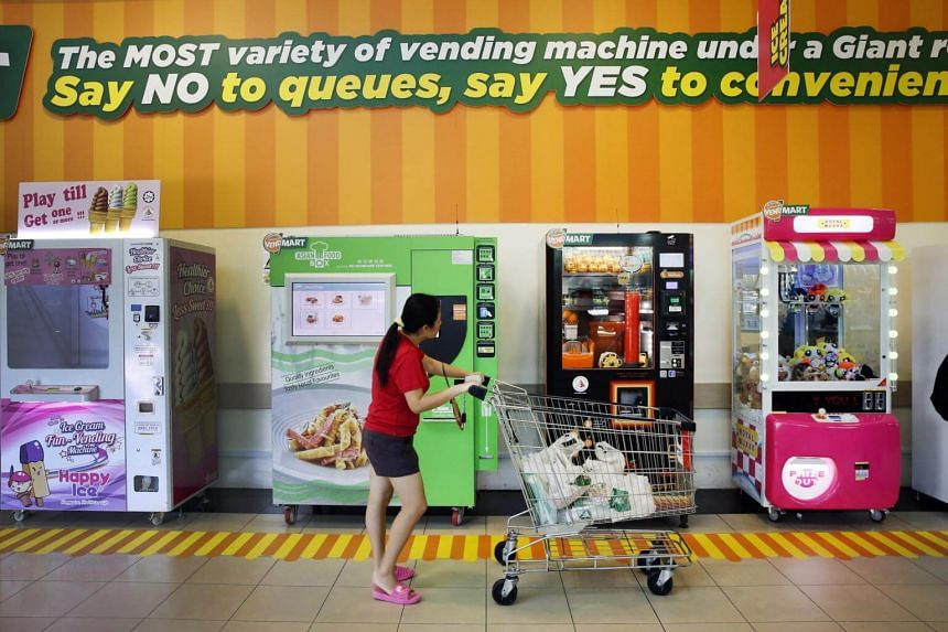 VendMart, located at the Giant Hypermarket in Tampines, has 17 vending machines offering toys, food and more.