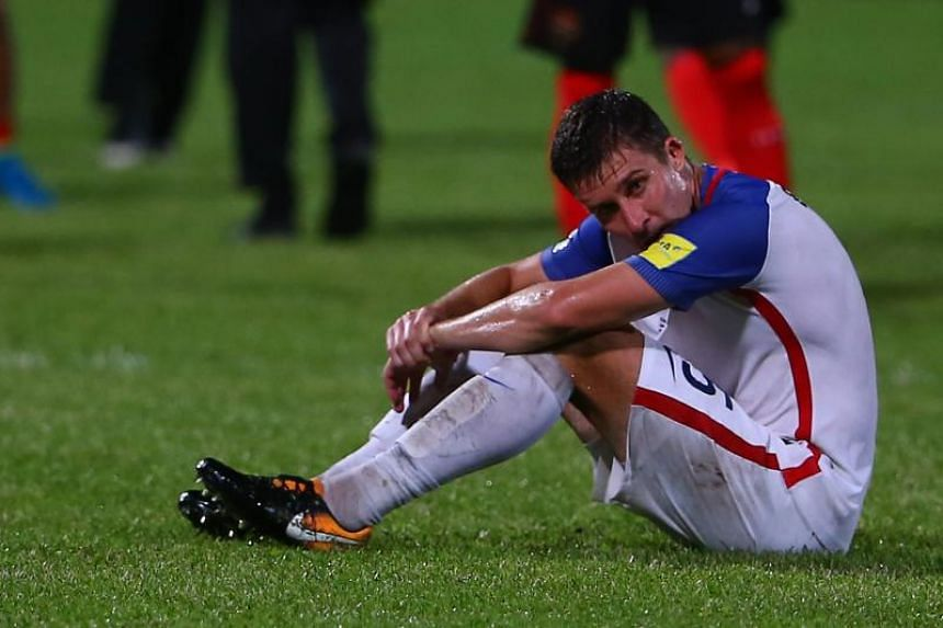 USA's Matt Besler reacts during their Fifa World Cup Qualifier match against Trinidad And Tobago.