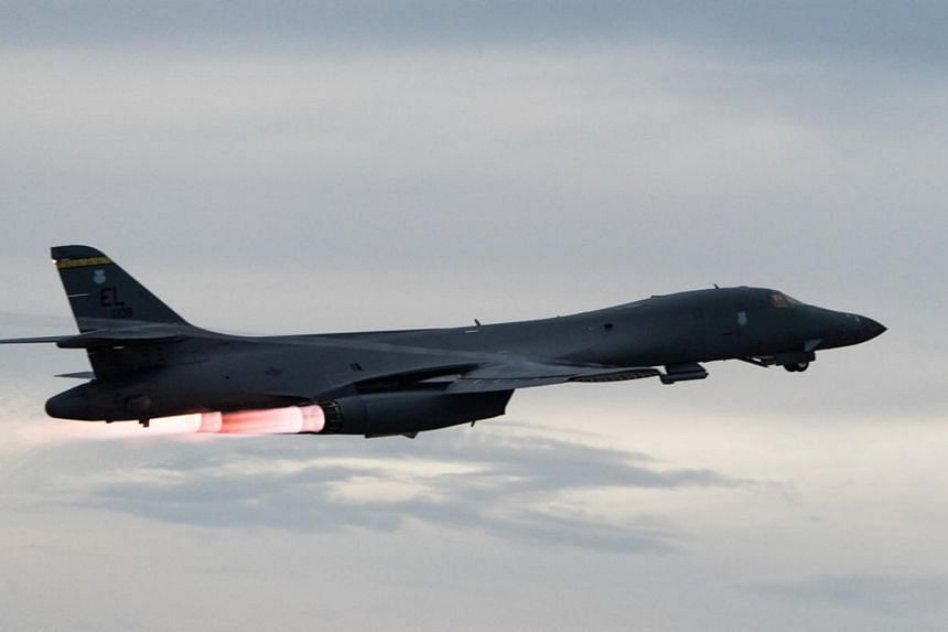 A US Air Force B-1B Lancer takes-off to fly a bilateral mission with Japanese and South Korea Air Force jets in the vicinity of the Sea of Japan, on Oct 10, 2017.