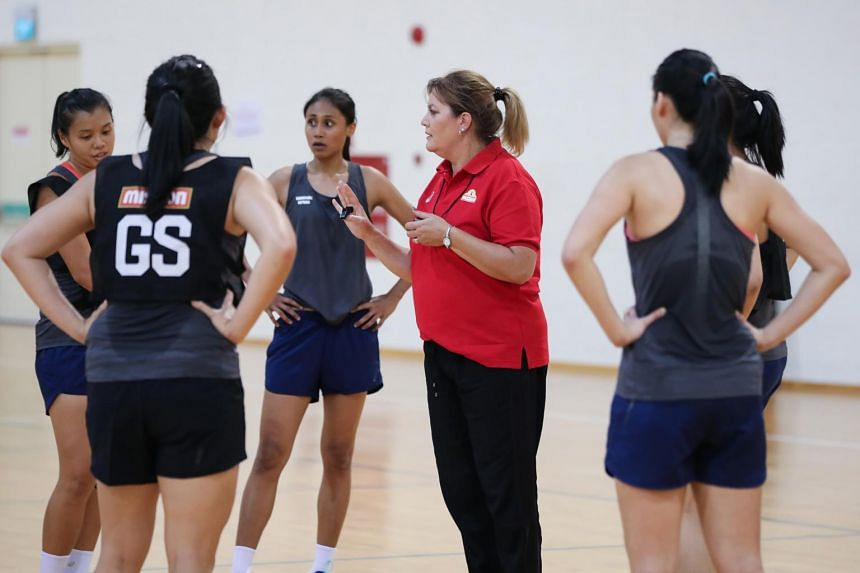 New Singapore netball head coach Natalie Milicich with the Singapore team at a training session in Sept 2017.