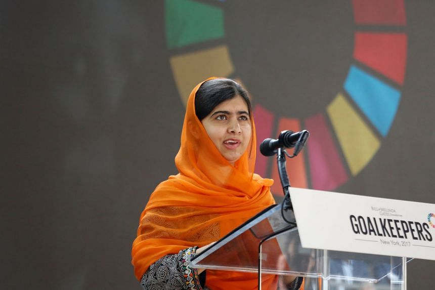 Malala Yousafzai speaking at the Bill and Melinda Gates Foundation Goalkeepers event in Manhattan, New York, on Sept 20, 2017. Yousafzai announced on Twitter that she was attending her first classes at the University of Oxford.