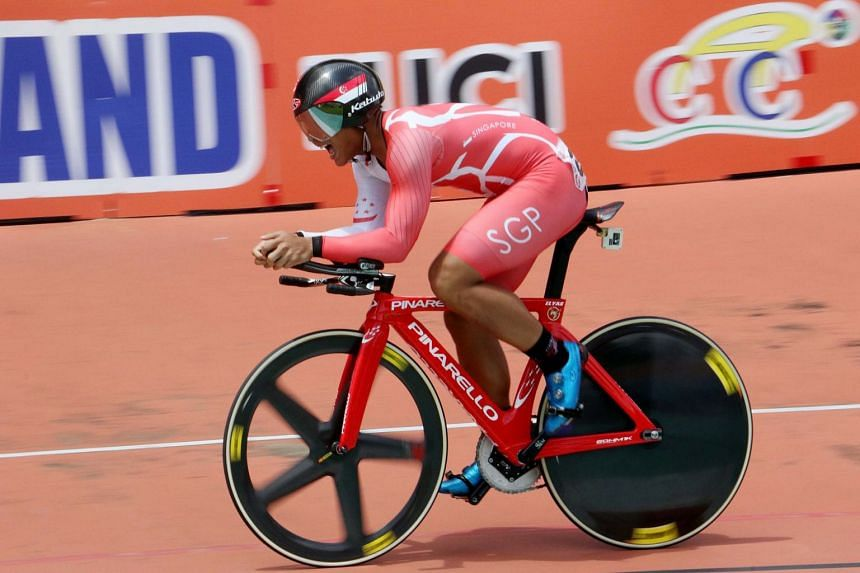 Singapore's Mohamed Elyas Mohamed Yusoff in action at the ACC Track Asia Cup in Bangkok.