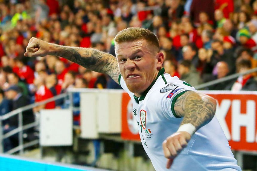 A fired-up midfielder James McClean after putting Ireland ahead in the 57th minute in Cardiff. His was the only goal of the game against Wales and ensured the Irish took second place in Group D behind Serbia to enter the play-offs.