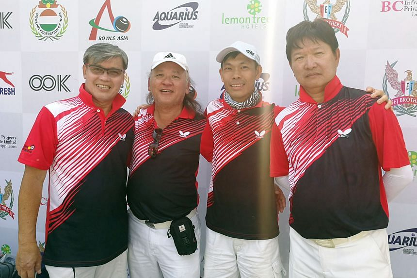Singapore's (from left) Bernard Foo, Pang Heng Heck, Melvin Tan and Anthony Loh won the men's fours at the Asian Championships in New Delhi. The women chipped in with two silvers and a bronze.