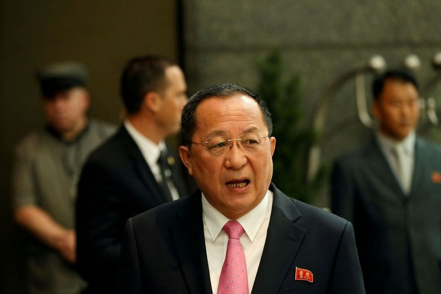 North Korean Foreign Minister Ri Yong-ho walks to speak to the media in New York, Sept 25, 2017.