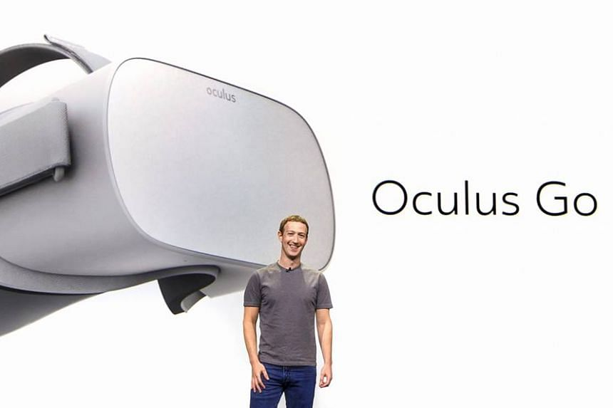 "Zuckerberg (above) touted Oculus Go as the first product in a ""sweet spot"" between virtual experiences using smartphones and those handled by powerful desktop computers."