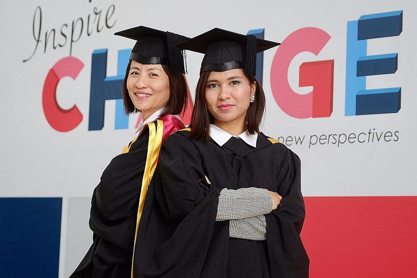 Among the graduands yesterday were Madam Tio Guat Kuan (right), who graduated with a Master of Gerontology, and Ms Nur Riduan, who graduated top of her bachelor's degree programme in early childhood education with management.