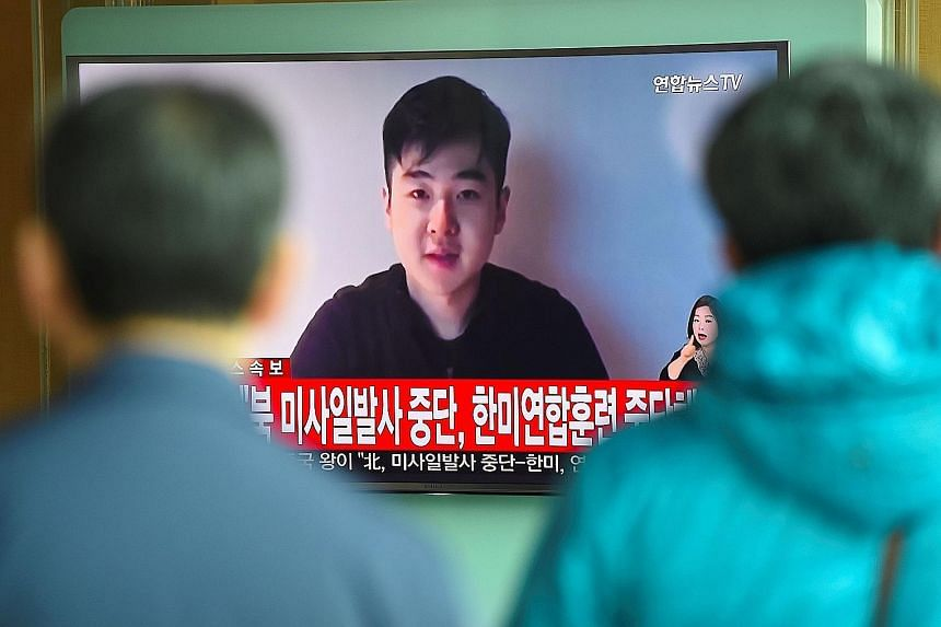 South Korea's TV stations played video footage of Mr Kim Han Sol soon after the assassination of his father Kim Jong Nam in Malaysia earlier this year.