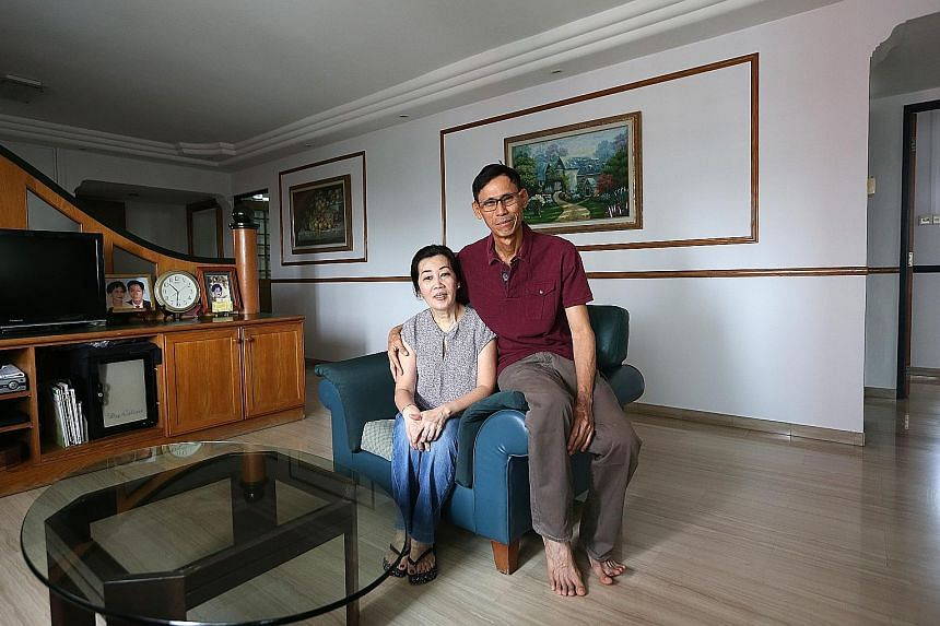 Mr Yang Chin Hong has been putting money into his wife Ng Ah Choo's Central Provident Fund account since 2011, and the couple now have about $166,000 each in their CPF accounts, the prevailing full retirement sum recommended by the Government.