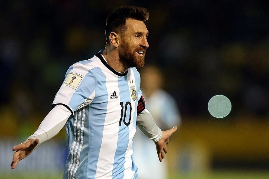 Argentina's Lionel Messi celebrating his hat-trick against Ecuador in Quito, where they had not won since 2001. With Messi in the team, the fourth-ranked side can never be written off.
