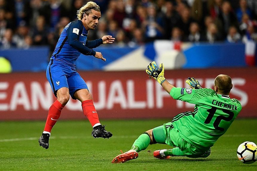 France's Antoine Griezmann slotting past Belarusian Syarhey Chernik in the 27th minute as Les Bleus ran out 2-1 winners. They will be among the favourites in Russia.