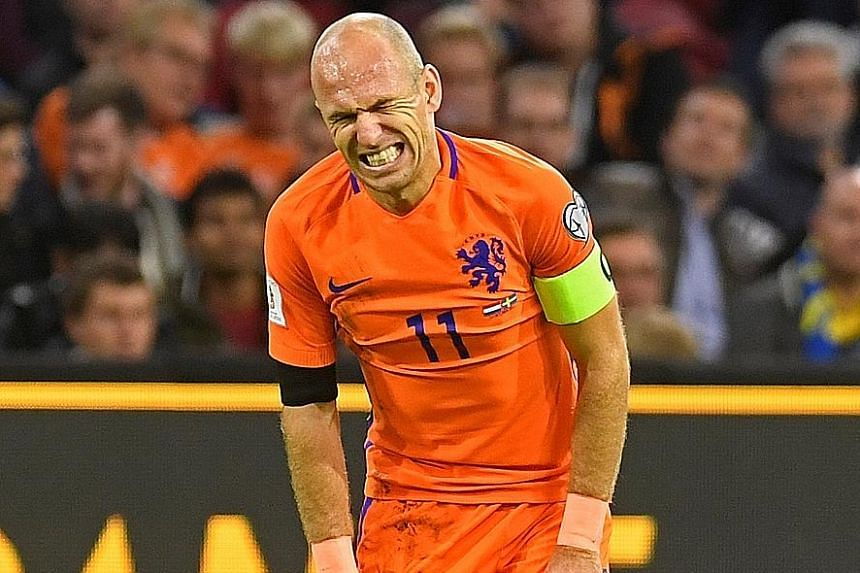 Netherlands captain Arjen Robben grimacing in vain as his brace against Sweden was too little, too late as the Dutch failed to qualify for the World Cup Finals despite their 2-0 home win on Tuesday. The Bayern Munich winger, who was marking his 96th