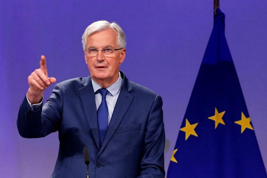 European Union's chief Brexit negotiator Michel Barnier holds a joint news conference with Britain's Secretary of State for Exiting the European Union David Davis after the latest round of talks in Brussels, Belgium Oct 12, 2017.