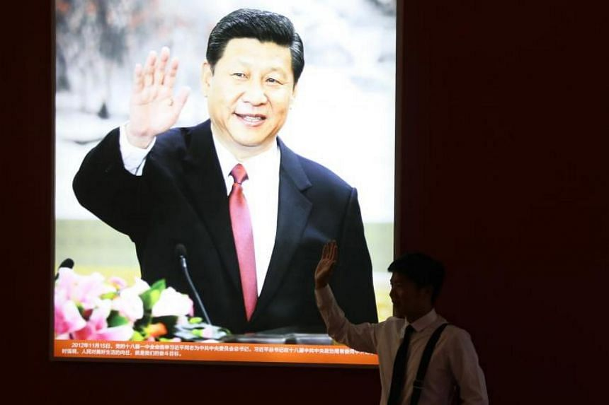 Hundreds of images of Mr Xi adorn the walls in each of the exhibition's ten halls.