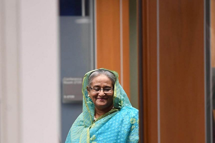 Bangladeshi Prime Minister Sheikh Hasina arrives to meet with UN Secretary General Antonio Guterres at the United Nations in New York on Sept 21, 2017.
