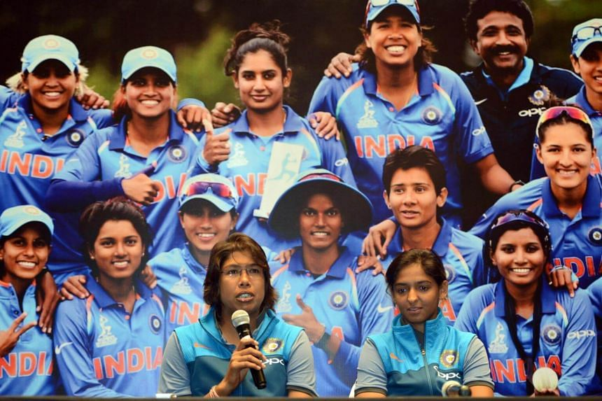 India's women's team cricketer Jhulan Goswami speaks during a news conference after the team's arrival in Mumbai on July 26, 2017.