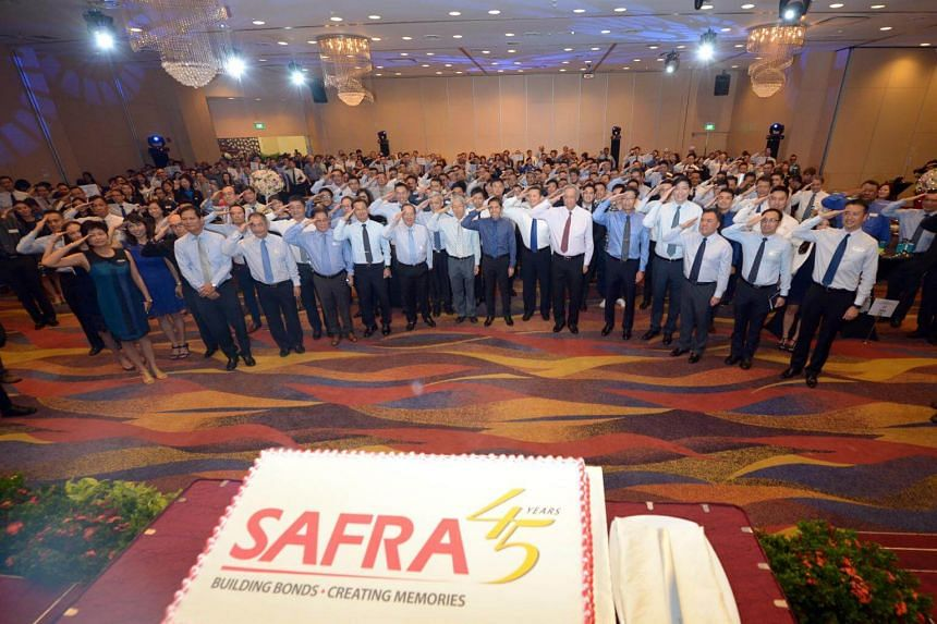Participants of the 14th Safra Awards and 45th Anniversary celebrating the success of the We Salute Our NSmen campaign by saluting together at Safra Mount Faber on Oct 12, 2017.
