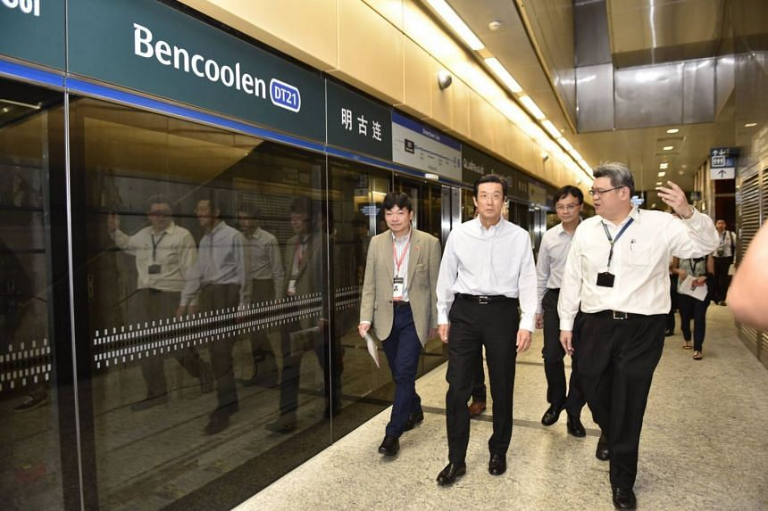 The Japanese Delegation, led by Mr Masayoshi Isono, Special Representative for International Affairs, Ministry of Land, Infrastructure, Transport and Tourism, and the Japanese Ambassador, Mr Kenji Shinoda, takes a tour of a new Downtown Line station.
