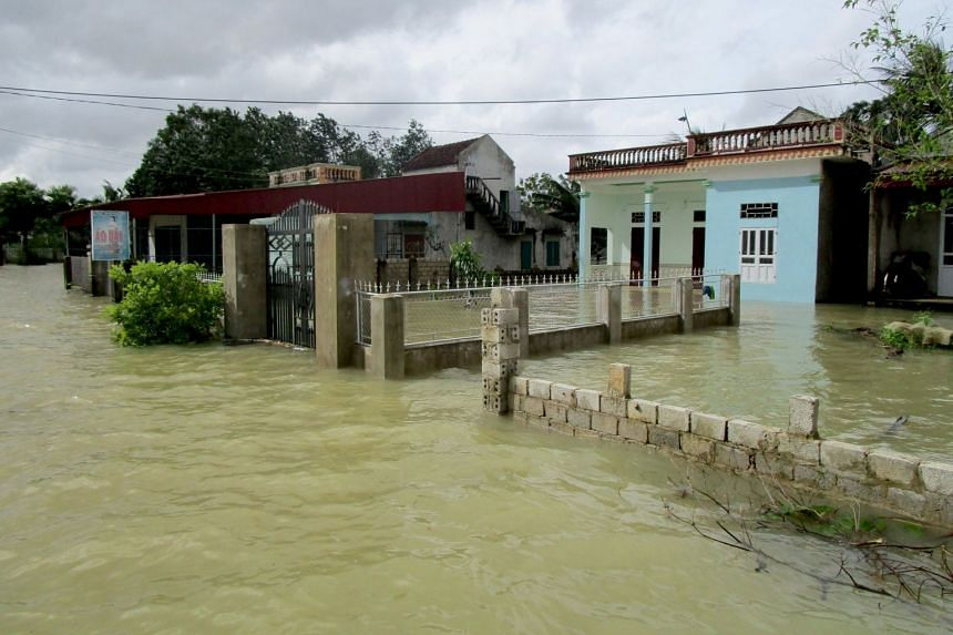 Houses submerged by the floods in Thanh Hoa, Vietnam, on Oct 10, 2017.