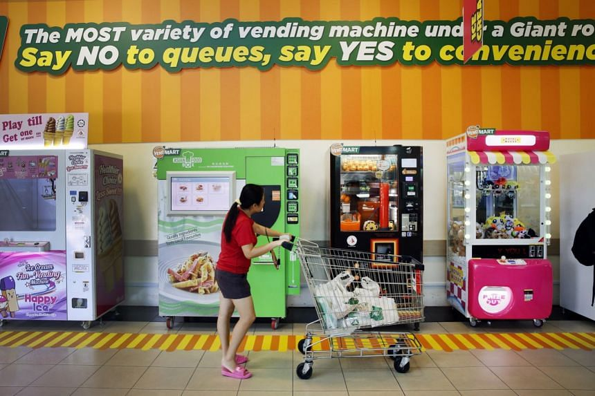VendMart at the Giant hypermarket in Tampines (above) houses 17 vending machines, while another five vending machines are at its IMM outlet in Jurong. Both VendMarts will run until Dec 31.
